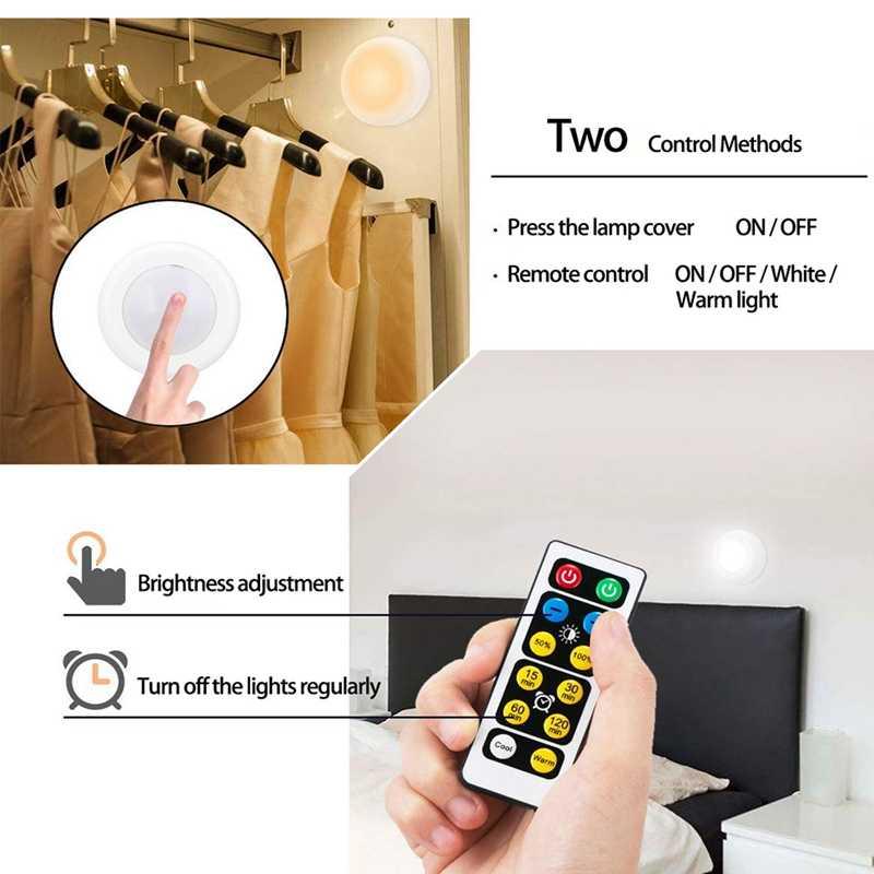 Светодиодный светильник с регулируемой яркостью и сенсорным датчиком, светодиодный светильник на батарейках, пульт дистанционного управления, подходит для кухонных лестниц