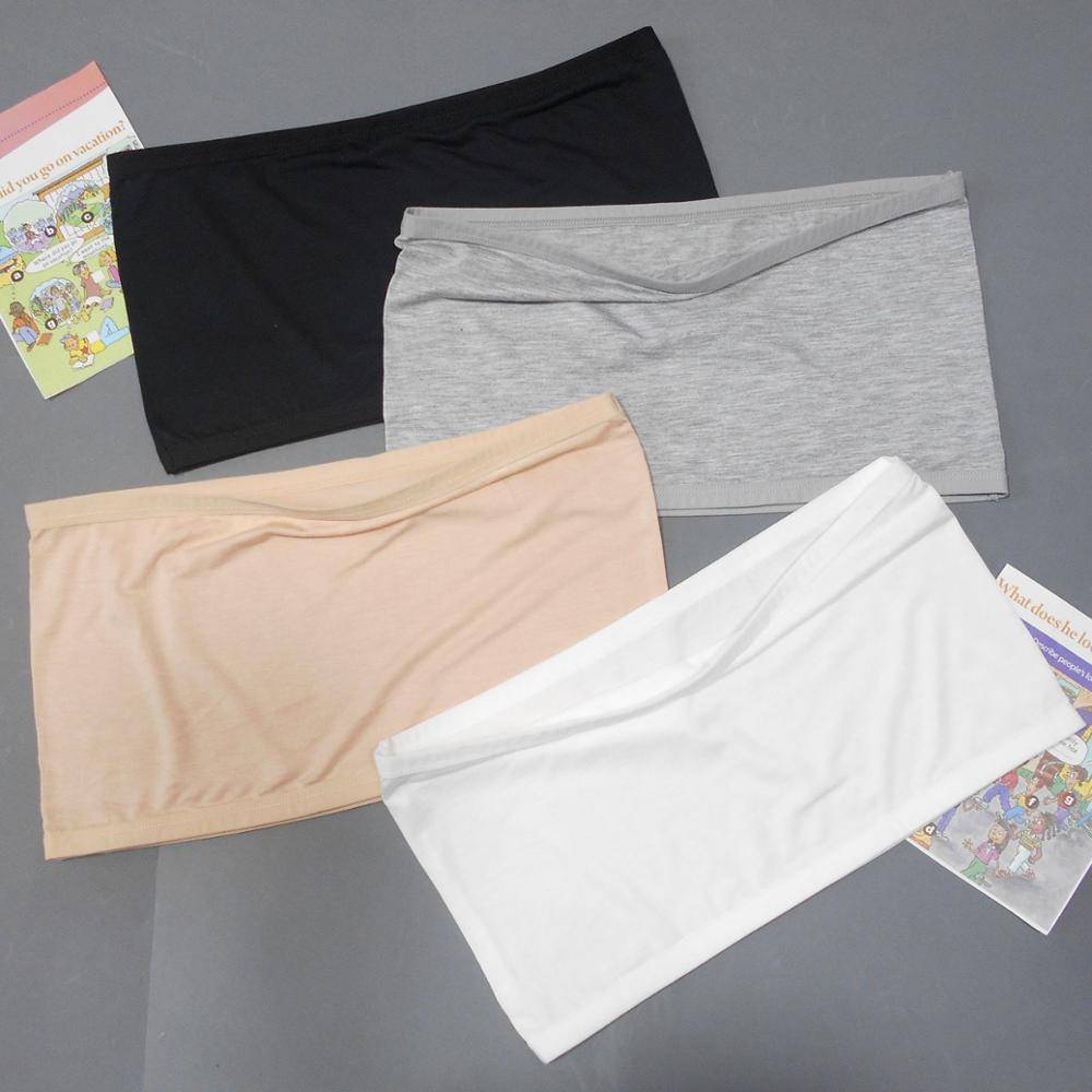 Kids Girls Strapless Training Bra Seamless Bandeau Tube Top Underwear For Girls Strapless Tops 4 Pack