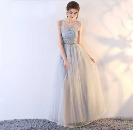 セクシーな花嫁介添人ドレスロングエレガントな女性のドレスウェディングパーティーシフォンドレスレース開いドレスガラドレス