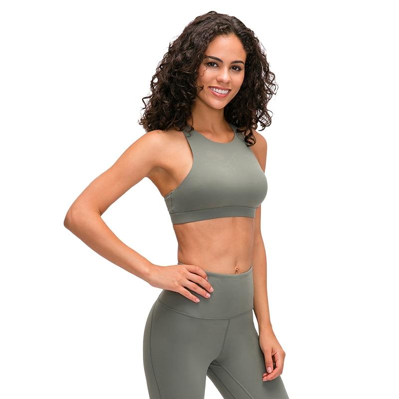 Nepoagym RATE Medium Support Strappy Sports Bra Breathable Women Fitness Bra Push Up Gym Bra Cross Back Padded Sports Bras
