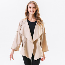 цена Casual Asymmetric Trench Coats Women Long Sleeve Turn Down Collar Clothes Ladies Solid Outerwear Open Stitch Casaco Feminino