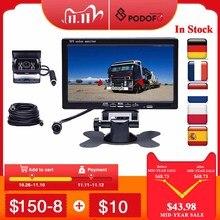"Podofo DC 12V 24V 7""TFT LCD Car Monitor Display + 4 Pin IR Night Vision Rear View Camera for Bus Truck RV Caravan Trailers"