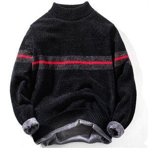 2019 высококачественный теплый мужской свитер с высоким воротом, модный однотонный полосатый вязаный мужской свитер, повседневный тонкий пу...