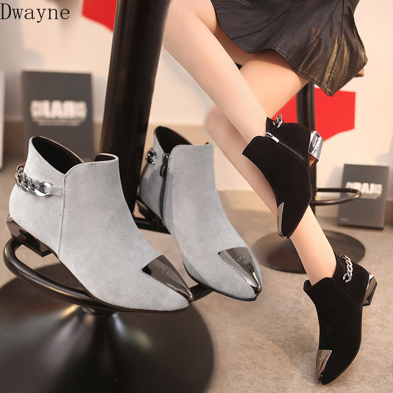 Women's Cotton Shoes Fall and Winter 2019 New Tip Iron Head Grinded Shoes Rough-heeled Martin Boots Low-heeled Chelsea Boots 26