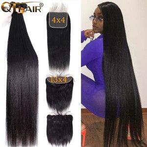 Image 1 - 32 30 дюймов прямые пряди волос с закрытием, натуральные кудрявые пучки волос пряди с фронтальным бразильским Реми 3 пряди с закрытием