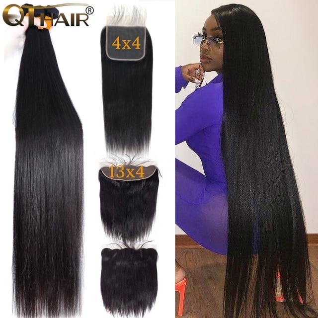 32 30 дюймов прямые пряди волос с закрытием, натуральные кудрявые пучки волос пряди с фронтальным бразильским Реми 3 пряди с закрытием