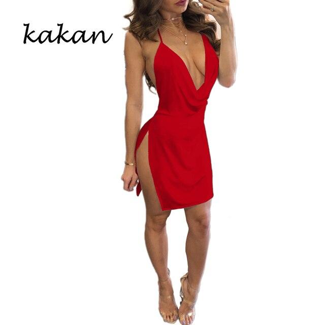 Kakan summer new women's suspender dress high slit sexy low-cut backless dress multi-color optional XS-3XL dress 2