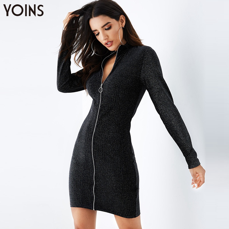 YOINS 2019 Autumn Winter Women Bodycon Dress Black V-Neck  Zip Front Long Sleeves Sexy Party Club Ladies Dresses Shinny Style