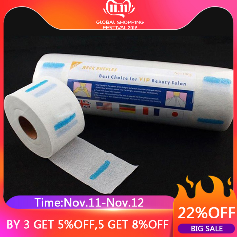 1 Small Roll/100 Piece Disposable Neck Paper Strip Barber Haircut Anti-Dust Paper Hairdressing Collar Accessory Neck Paper Roll