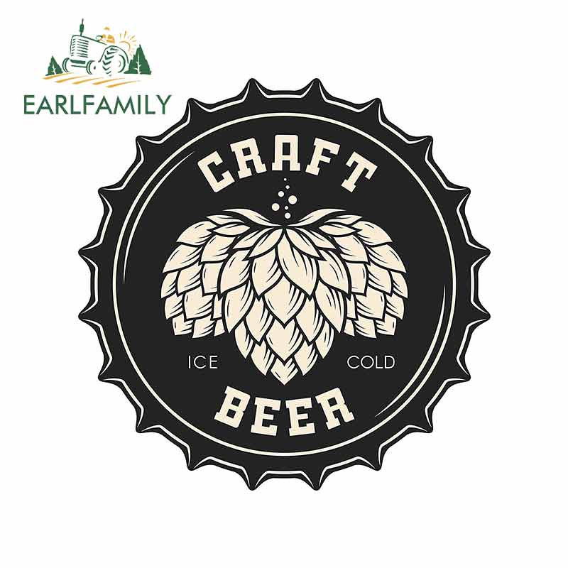 EARLFAMILY 13cm X 12.3cm For Craft Beer Cartoon Decal Graffiti Car Stickers Personality Creative Waterproof Occlusion Scratch