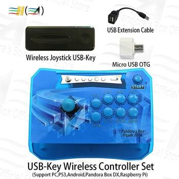 Original Wireless arcade joystick Controller with USB-Key Wireless receiver Set connect PS3 PC Android Pandora Box DX raspberry