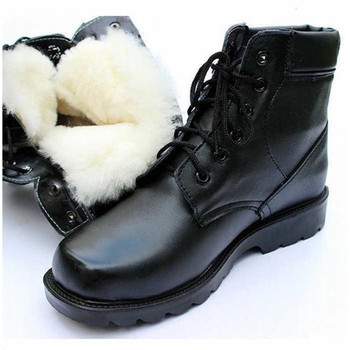 Natural Wool Mens Boots Leather Snowboots Men Military Shoes Fashion Vintage Casual Black High Top