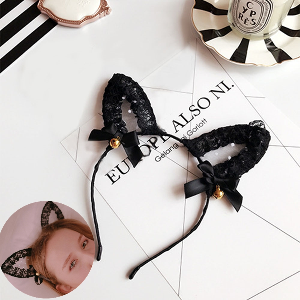Fashion Girls Cat Ears Lace Headband Creative Design Lovely Black Lace Hairbands Cosplay Fancy Masquerade Costume Headdress-in Women's Hair Accessories from Apparel Accessories on AliExpress