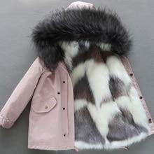 Girl Down Jacket 2021 Winter Faux fox Fur Coat Liner Detachable Long Fur Parka Warm Outerwear High Quality Baby Girl Winter Coat