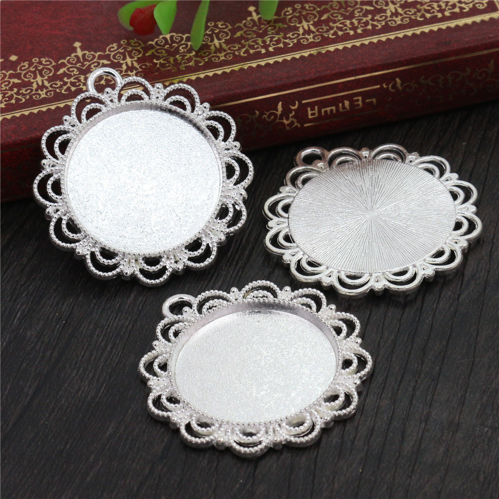 New Fashion  3pcs 25mm Inner Size Silver Cute Style Cabochon Base Setting Charms Pendant (A3-17)
