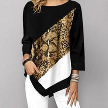 Женская рубашка с круглым вырезом и рукавом 3/4, повседневная Асимметричная блузка с леопардовым принтом змеиной кожи, весна-осень