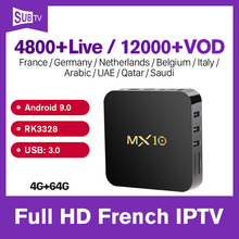 цена на MX10 SUBTV Arabic France IPTV 1 Year 4+64G French Italian Portugal Turkish IPTV Code IPTV Subscription IP TV Box Android 9.0 4K