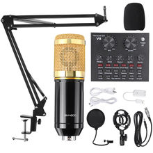 Bm800 microfone estúdio de gravação kits bm800 microfone condensador para computador phantom power BM-800 karaoke mic placa de som