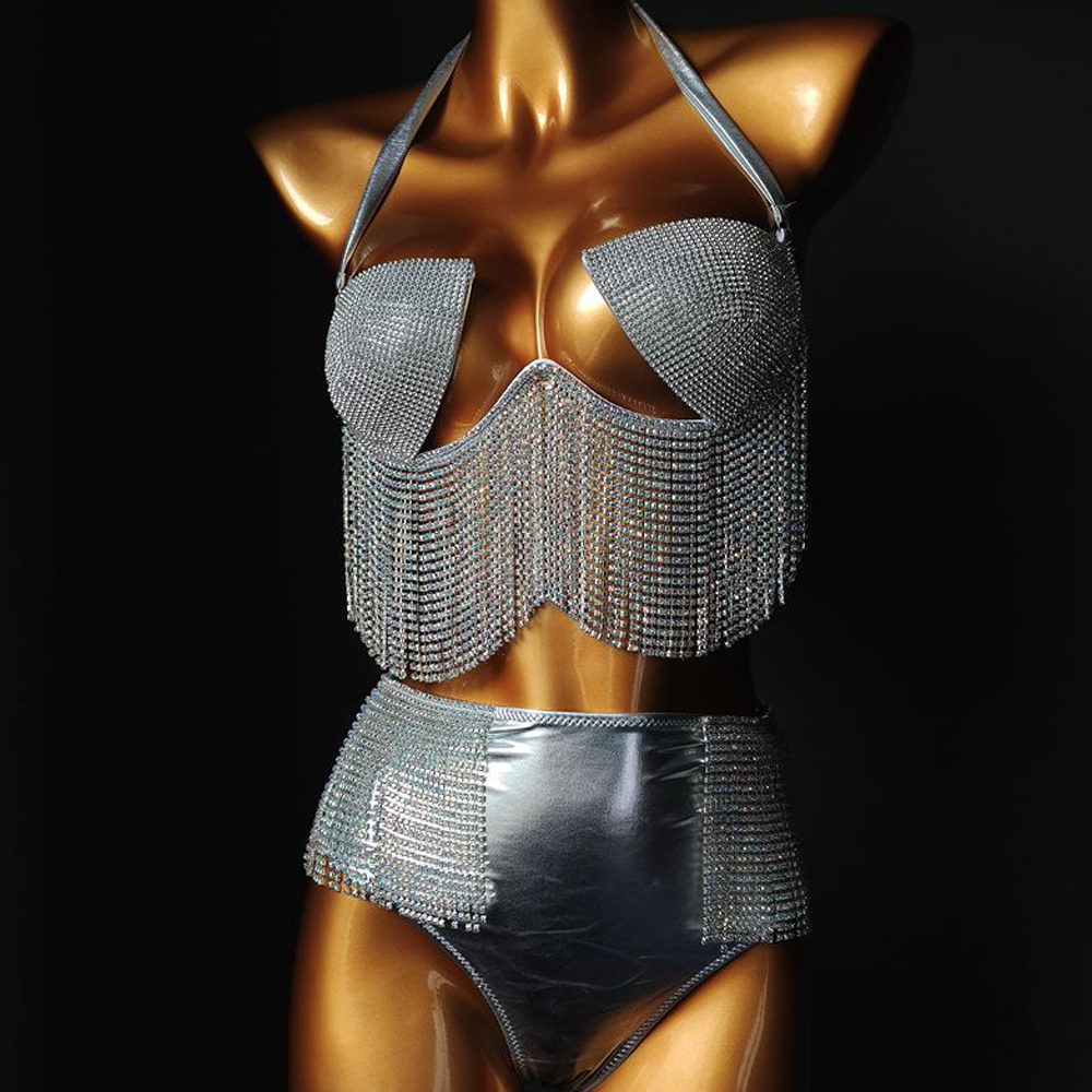 2020 Bikini Set Women Halter Low Neckline Bling Diamante Tassel Bra Crop Top High Cut Bandage Panties Rave Festival Bikini Sets