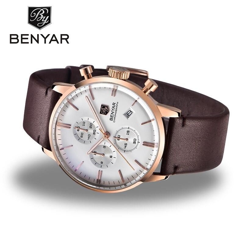 Relojes BENYAR para hombre, relojes de lujo de marca Gold Quartz para hombre, cronógrafo para hombre, reloj de moda de cuero resistente al agua, reloj