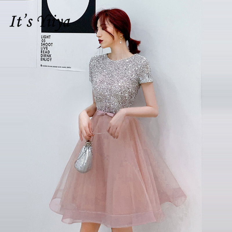 It's Yiiya Prom Dresses Elegant Sequins Short Vestidos De Gala O-neck Short Sleeve Knee Length Dress Women Party Night LF057