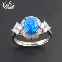 Bolai blue fire opal ring 925 sterling silver oval 9*7mm cabochon created gemstone fine jewelry rings for women wedding gift(China)