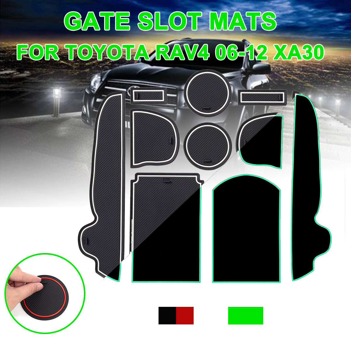 For Toyota RAV4 2006-2012 xa30 Anti-Slip Gate Slot Mat Rubber Coaster Accessories For <font><b>RAV</b></font> <font><b>4</b></font> 2006 2007 2008 2009 2010 <font><b>2011</b></font> 2012 image