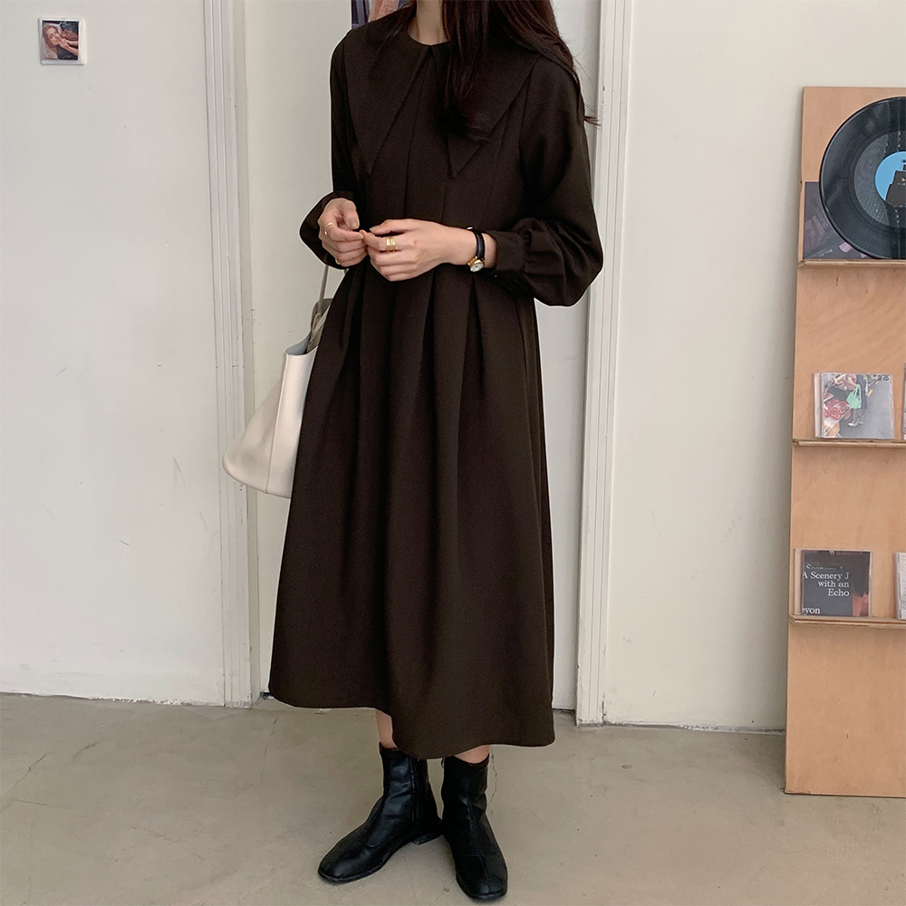 H0e4c0eda83e542188f4be3a14f3b2851U - Autumn Big Lapel Collar Long Lantern Sleeves Solid Loose Midi Dress