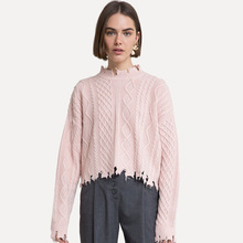 2019 Autumn Sweater with Irregular Hair Edge and Hole Knitted Hemp Pullovers Computer fashion Pullover Women