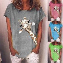 T-Shirt manches courtes col rond femme, Streetwear, estival, confortable, surdimensionné, mignon, imprimé girafe