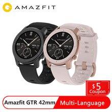 Huami Amazfit GTR 42mm 스마트 시계 글로벌 버전 12 일 배터리 GPS 5ATM 방수 Smartwatch