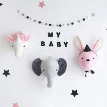 Schwan Flamingo Wand Kopf Hängen Einhorn Elefant Tier Kopf Plüsch Stofftier Puppe Für Baby Zimmer Dekoration Kinder Geschenk
