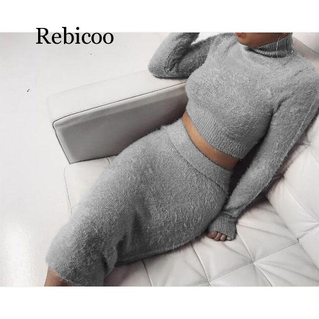 >Casual 2 Two Piece Set Women <font><b>Clothes</b></font> Spring Autumn <font><b>Outfits</b></font> Long Sleeve Knit Sweater Tops Bodycon Skirts Suit Sexy Matching Sets