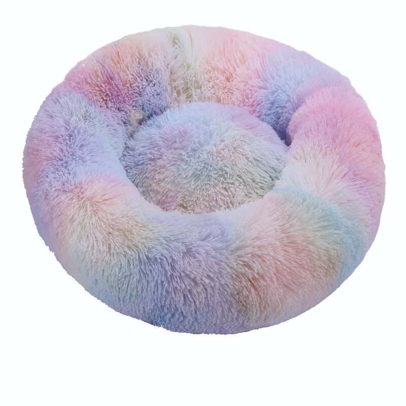 Colorful-Round Cat Beds House Soft Long Plush Best Pet Dog Bed For Dogs Basket Pet