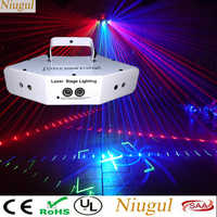6 Lens Scan Laser Light DMX RGB Full Color Lines Beam With Patterns Laser Home Party DJ KTV Projector Great Effects Stage Lights