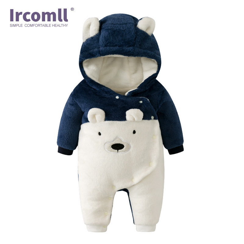 Ircomll New born Baby Rompers Autumn Winter Warm Soft Bear Lining Fleece Climbing Clothes For Boys Girls Inafnt Jumpsuit Outwear