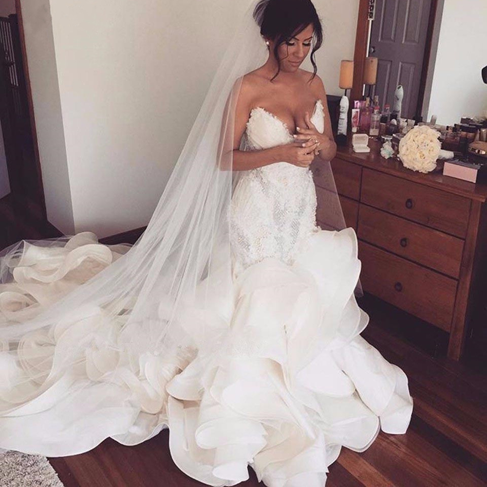 Sexy Ruffles Mermaid Wedding Dresses Lace Appliques Ruched Long Bridal Gowns Plus Size Sweetheart Wedding Gowns Robe De Mariee