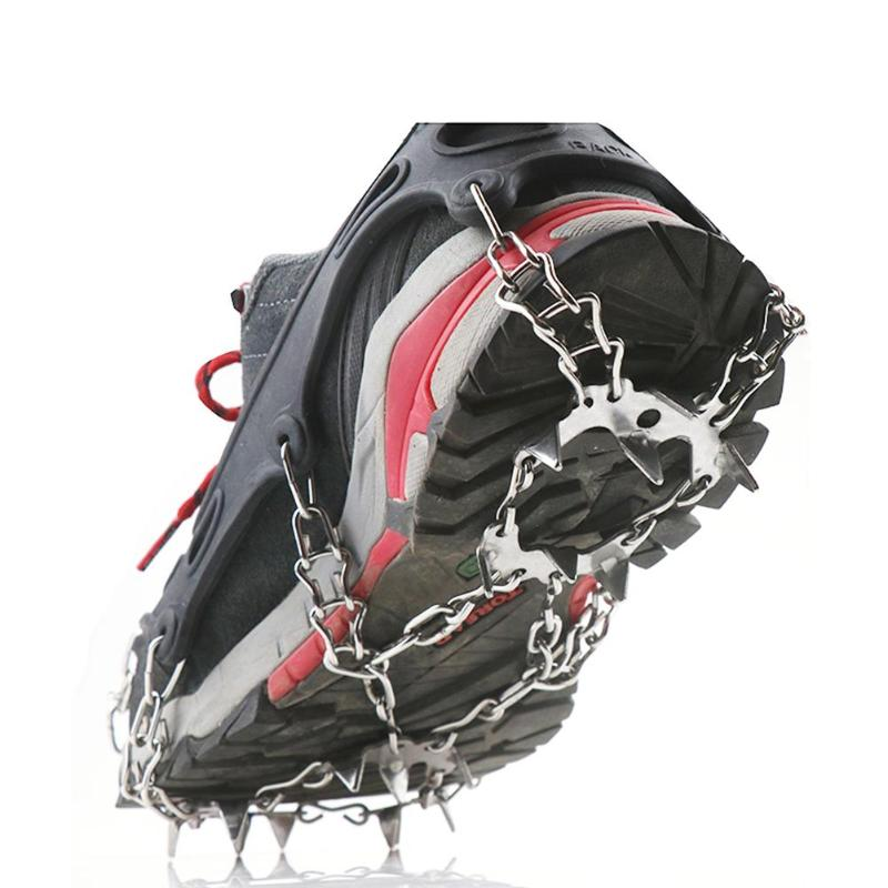 19 Teeth Outdoor Climbing Crampons Spikes Anti Slip Walk Traction Cleats Over Shoe Ice Snow Grips With Carry Bag