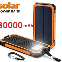solar 30000mah Power Bank External Battery charge Dual USB P