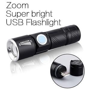 USB Powerful Flashlight Rechargeable flashlight Zoomable Spotlight Waterproof Tactical flashlight Camping light Flash light Led