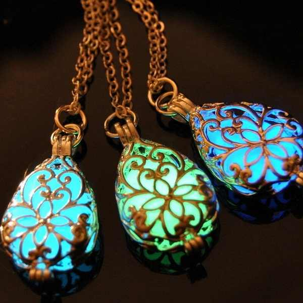 1 X Wishing Tear Drop Magical Fairy Glow ใน Dark Steampunk จี้