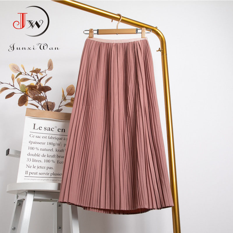 Women Summer Solid Pleated Skirt 2021 High Elastic Waist Elegant Office Ladies Romantic Midi Skirt Female Saia Faldas White 3