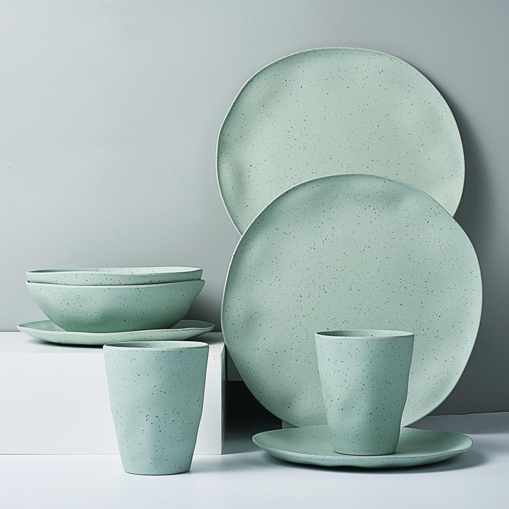 Vaisselle européenne pour 2 personnes 8 pièces | Ensemble de vaisselle ménagère en fiber de bambou, assiettes simples, bol à soupe, assiette à Steak Western