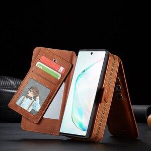 Image 5 - Funda de cuero con cremallera para Samsung Galaxy Note 10 Plus S10 S9 S8 Plus S10e Note 9 8 funda de bolso desmontable magnética