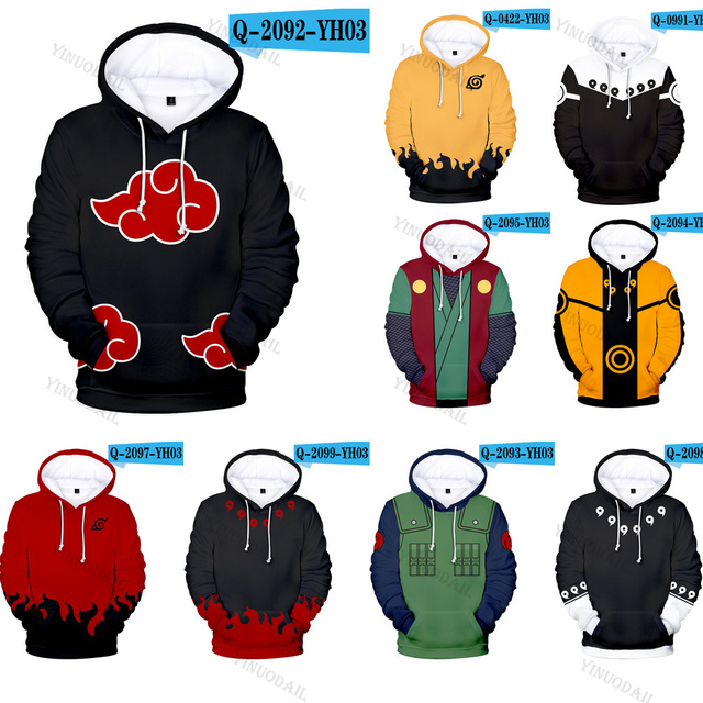 Naruto Hoodies Uchiha Syaringan Hooded Boys Uzumaki Naruto Pullover Men/women Cartoon Printed Clothes