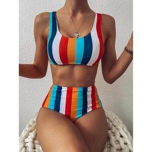 High Waist Bikini 2021 Sexy Striped Swimsuit Women Swimwear Female Push up Bikini Set Swimming Wear for Bathing Suit Swimsuits