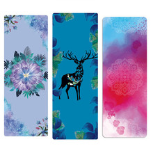 Print Yoga Mat Thin Natural Rubber Suede 183*68cm*1.5mm Pilate Anti-slip Exercise Balance Pad Travel Matress