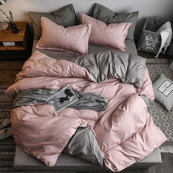 Classic Bedding Set Pink And Grey Lattice