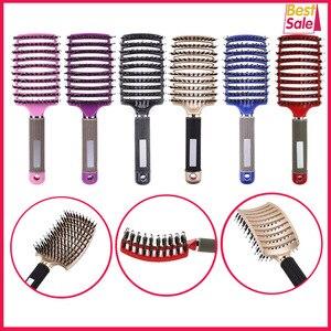 Image 1 - Cheveux cuir chevelu Massage peigne brosse à cheveux soies Nylon femmes humide bouclés démêler brosse à cheveux pour Salon de coiffure outils de coiffure