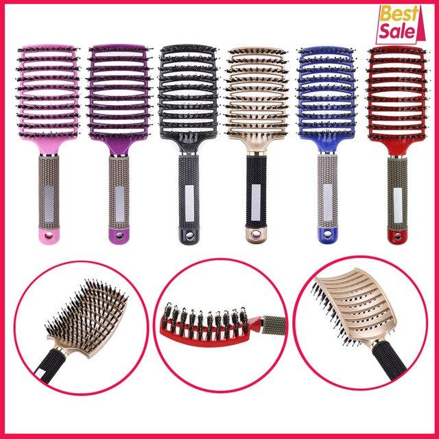 Cheveux cuir chevelu Massage peigne brosse à cheveux soies Nylon femmes humide bouclés démêler brosse à cheveux pour Salon de coiffure outils de coiffure